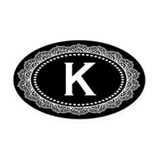 Monogram Medallion K Oval Car Magnet