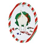 Jack Russell Terrier Christmas Oval Ornament