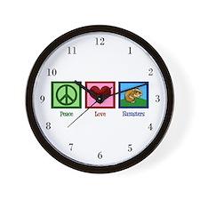 Peace Love Hamsters Wall Clock