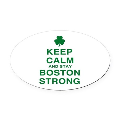 Keep Calm and Boston Strong Oval Car Magnet