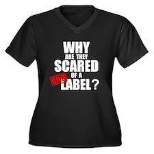 'Scared of a Label' Women's Plus Size V-Neck Dark