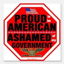 """Proud to be American Square Car Magnet 3"""""""