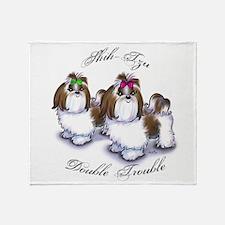 Shih Tzu Double Trouble Throw Blanket