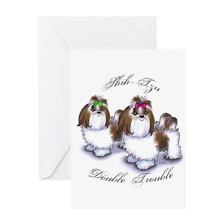 Shih Tzu Double Trouble Greeting Card