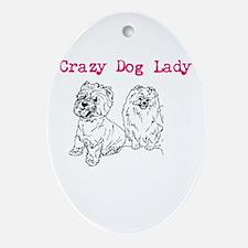 crazy dog lady Ornament (Oval)
