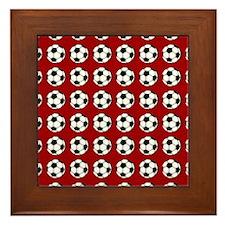 soccer on red Framed Tile