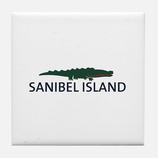 Sanibel Island - Alligator Design. Tile Coaster