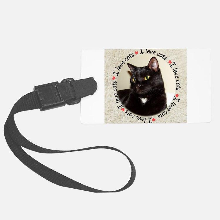 Cute Black and white tuxedo cat Luggage Tag