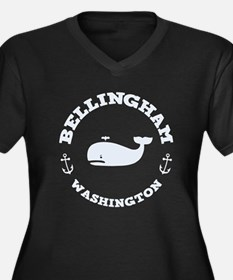 Bellingham Whale Women's Plus Size V-Neck Dark T-S