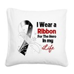 Ribbon Hero Carcinoid Cancer Square Canvas Pillow