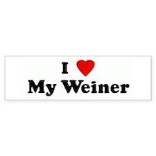 I Love My Weiner Bumper Bumper Sticker