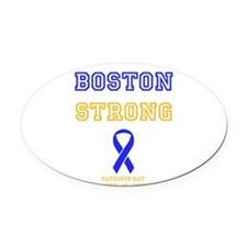Boston Strong Ribbon Design Oval Car Magnet
