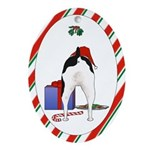 Rat Terrier Christmas Oval Ornament