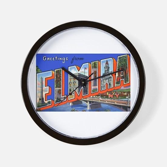 Elmira New York Greetings Wall Clock