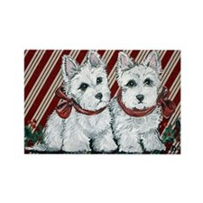 Candy Cane Westies Rectangle Magnet