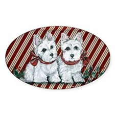 Candy Cane Westies Oval Decal