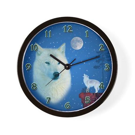 White Wolf Wall Clock