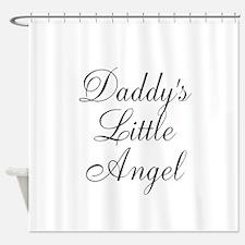 Daddys Little Angel Black Script Shower Curtain