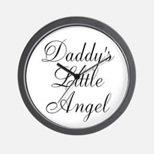 Daddys Little Angel Black Script Wall Clock