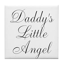 Daddys Little Angel Black Script Tile Coaster