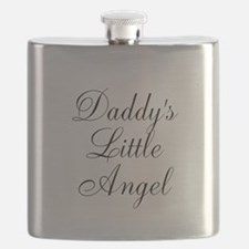 Daddys Little Angel Black Script Flask