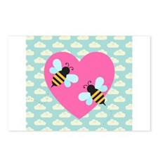 Honey Bee Love on White Clouds Postcards (Package