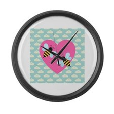 Honey Bee Love on White Clouds Large Wall Clock