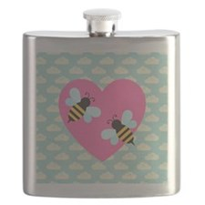 Honey Bee Love on White Clouds Flask