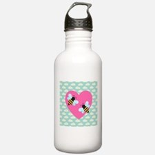 Honey Bee Love on White Clouds Water Bottle