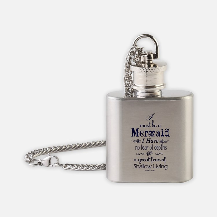 I Must Be A Mermaid Quote Flask Necklace
