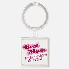 Best Mom in the History of Ever! Pink Keychains