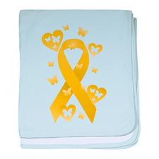 Yellow Awareness Ribbon baby blanket