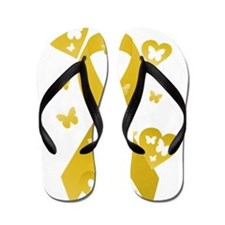 Yellow Awareness Ribbon Flip Flops