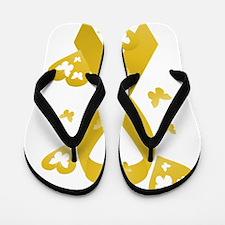 Yellow Awareness Ribbon Flip Flops