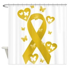 Yellow Awareness Ribbon Shower Curtain