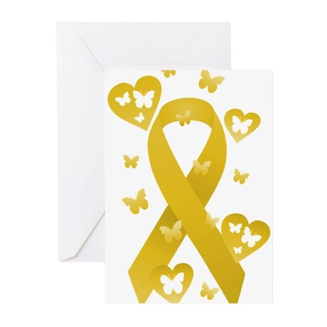 Yellow Awareness Ribbon Greeting Cards (Pk of 10)