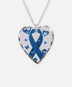 Blue Awareness Ribbon Necklace Heart Charm