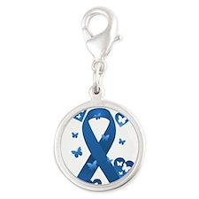 Blue Awareness Ribbon Silver Round Charm