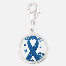 Blue Awareness Ribbon Silver Round Charm