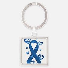 Blue Awareness Ribbon Square Keychain