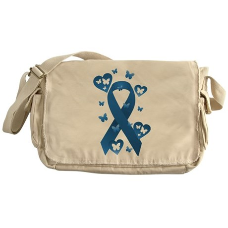Blue Awareness Ribbon Messenger Bag