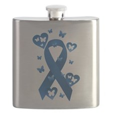 Blue Awareness Ribbon Flask