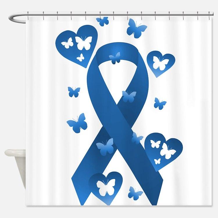 Blue Awareness Ribbon Shower Curtain