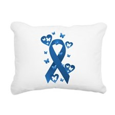 Blue Awareness Ribbon Rectangular Canvas Pillow