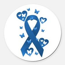 Blue Awareness Ribbon Round Car Magnet