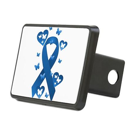 Blue Awareness Ribbon Rectangular Hitch Cover