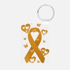 Orange Awareness Ribbon Aluminum Photo Keychain