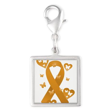 Orange Awareness Ribbon Silver Square Charm