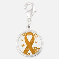 Orange Awareness Ribbon Silver Round Charm