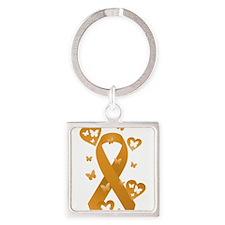 Orange Awareness Ribbon Square Keychain